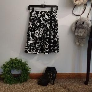 Midi length black and white floral skirt